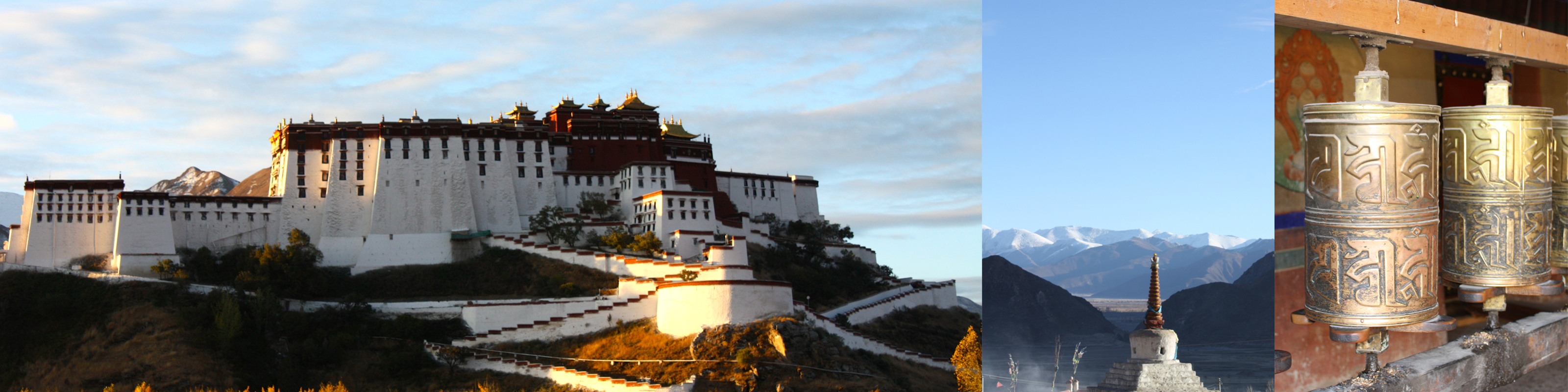 Images of Tibet: the Potala at sunrise; a chorten; prayer wheels in a monastery